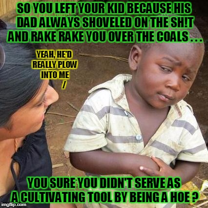 Third World Skeptical Kid Meme | SO YOU LEFT YOUR KID BECAUSE HIS DAD ALWAYS SHOVELED ON THE SH!T AND RAKE RAKE YOU OVER THE COALS . . . YOU SURE YOU DIDN'T SERVE AS A CULTI | image tagged in memes,third world skeptical kid | made w/ Imgflip meme maker