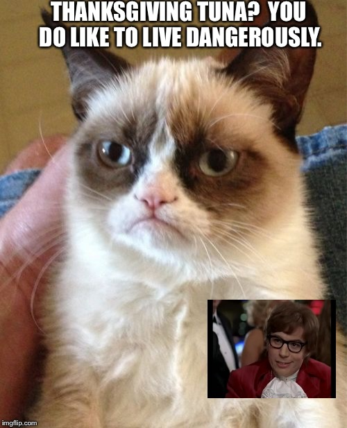 Grumpy Cat Meme | THANKSGIVING TUNA?  YOU DO LIKE TO LIVE DANGEROUSLY. | image tagged in memes,grumpy cat | made w/ Imgflip meme maker