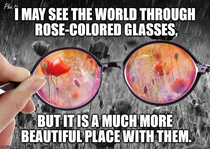 Life Through Rose Colored Glasses | I MAY SEE THE WORLD THROUGH ROSE-COLORED GLASSES, BUT IT IS A MUCH MORE BEAUTIFUL PLACE WITH THEM. | image tagged in beauty,colorful,black and white | made w/ Imgflip meme maker