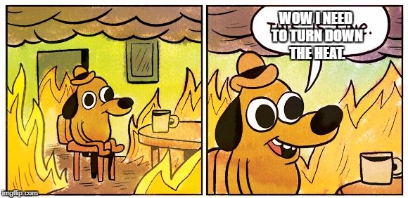 This is fine dog | WOW I NEED TO TURN DOWN THE HEAT. | image tagged in this is fine dog | made w/ Imgflip meme maker