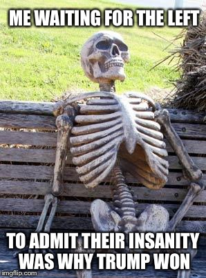 Waiting Skeleton Meme | ME WAITING FOR THE LEFT TO ADMIT THEIR INSANITY WAS WHY TRUMP WON | image tagged in memes,waiting skeleton | made w/ Imgflip meme maker