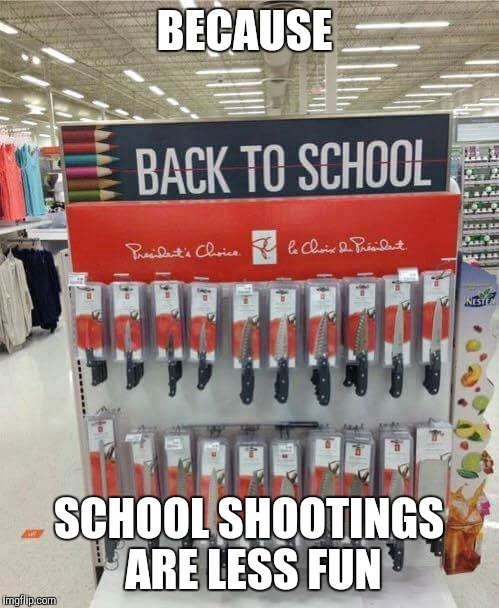 Fun day at school  | BECAUSE SCHOOL SHOOTINGS ARE LESS FUN | image tagged in school,knife | made w/ Imgflip meme maker