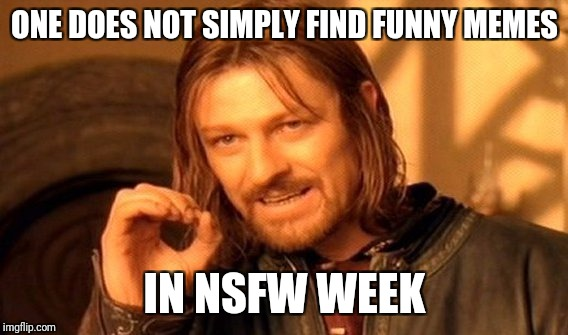 One Does Not Simply Meme | ONE DOES NOT SIMPLY FIND FUNNY MEMES IN NSFW WEEK | image tagged in memes,one does not simply | made w/ Imgflip meme maker