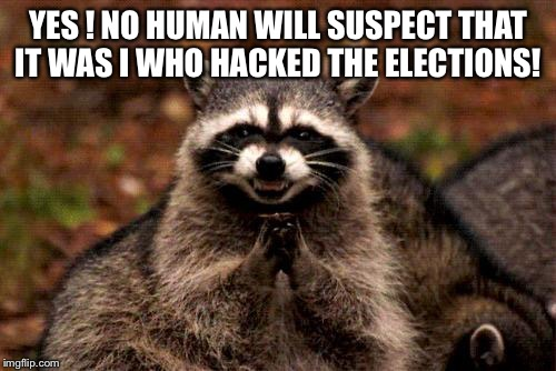 Evil Plotting Raccoon Meme | YES ! NO HUMAN WILL SUSPECT THAT IT WAS I WHO HACKED THE ELECTIONS! | image tagged in memes,evil plotting raccoon | made w/ Imgflip meme maker