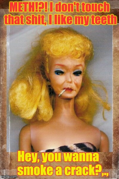 Crack Ho Barbie,,, | METH!?! I don't touch that shit, I like my teeth Hey, you wanna     smoke a crack?,., | image tagged in crack ho barbie | made w/ Imgflip meme maker