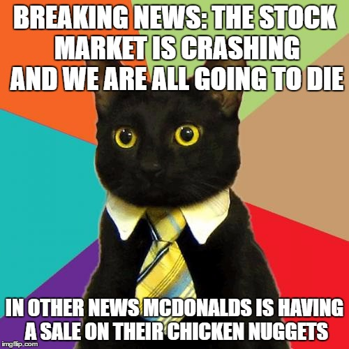 someone fire this cat | BREAKING NEWS: THE STOCK MARKET IS CRASHING AND WE ARE ALL GOING TO DIE IN OTHER NEWS MCDONALDS IS HAVING A SALE ON THEIR CHICKEN NUGGETS | image tagged in memes,business cat,breaking news,funny | made w/ Imgflip meme maker