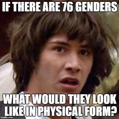 Conspiracy Keanu Meme | IF THERE ARE 76 GENDERS WHAT WOULD THEY LOOK LIKE IN PHYSICAL FORM? | image tagged in memes,conspiracy keanu | made w/ Imgflip meme maker