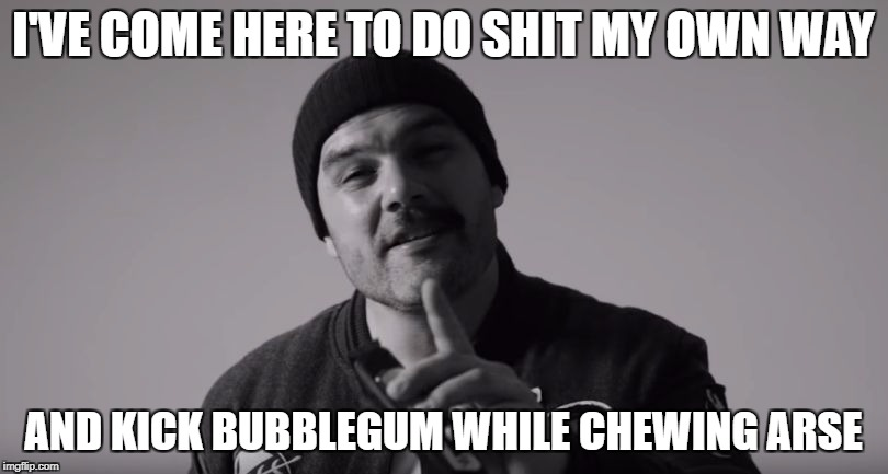 360 - Coup De Grace | I'VE COME HERE TO DO SHIT MY OWN WAY AND KICK BUBBLEGUM WHILE CHEWING ARSE | image tagged in memes,seth sentry,dank memes,funny,bad puns,aussie hip hop | made w/ Imgflip meme maker