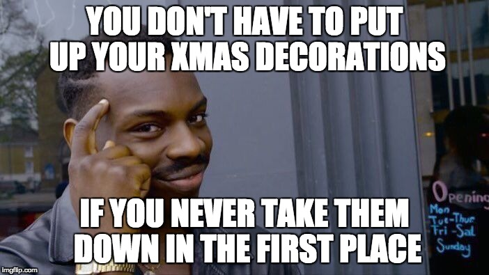 Roll Safe Think About It Meme | YOU DON'T HAVE TO PUT UP YOUR XMAS DECORATIONS IF YOU NEVER TAKE THEM DOWN IN THE FIRST PLACE | image tagged in roll safe think about it,AdviceAnimals | made w/ Imgflip meme maker