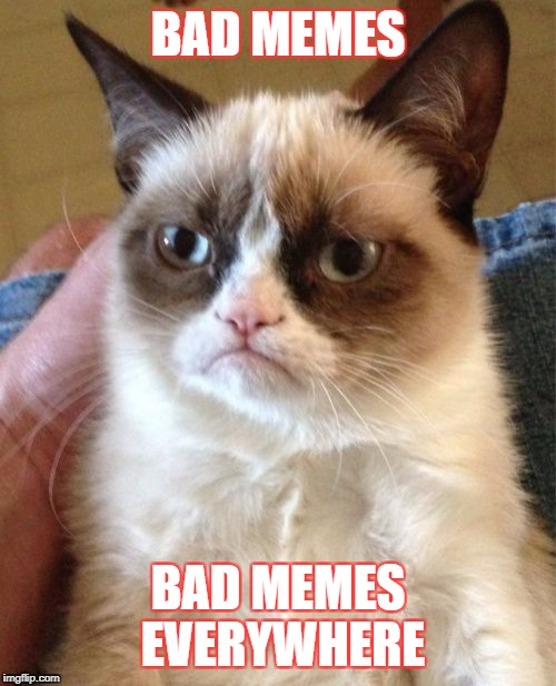 Memes today | BAD MEMES BAD MEMES EVERYWHERE | image tagged in memes,grumpy cat | made w/ Imgflip meme maker