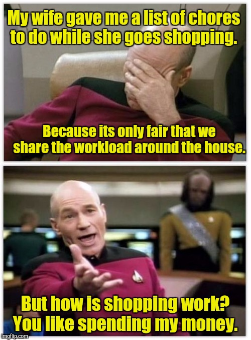 Yes,  this is true.  | My wife gave me a list of chores to do while she goes shopping. But how is shopping work? You like spending my money. Because its only fair  | image tagged in picard frustrated,chores,spending,marriage | made w/ Imgflip meme maker