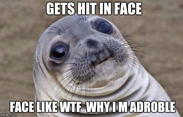 Awkward Moment Sealion Meme | GETS HIT IN FACE FACE LIKE WTF  WHY I M ADROBLE | image tagged in memes,awkward moment sealion | made w/ Imgflip meme maker