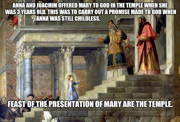 Presentation |  ANNA AND JOACHIM OFFERED MARY TO GOD IN THE TEMPLE WHEN SHE WAS 3 YEARS OLD. THIS WAS TO CARRY OUT A PROMISE MADE TO GOD WHEN ANNA WAS STILL CHILDLESS. FEAST OF THE PRESENTATION OF MARY ARE THE TEMPLE. | image tagged in god,jesus,holyspirit,mary,presentaion,catholic | made w/ Imgflip meme maker