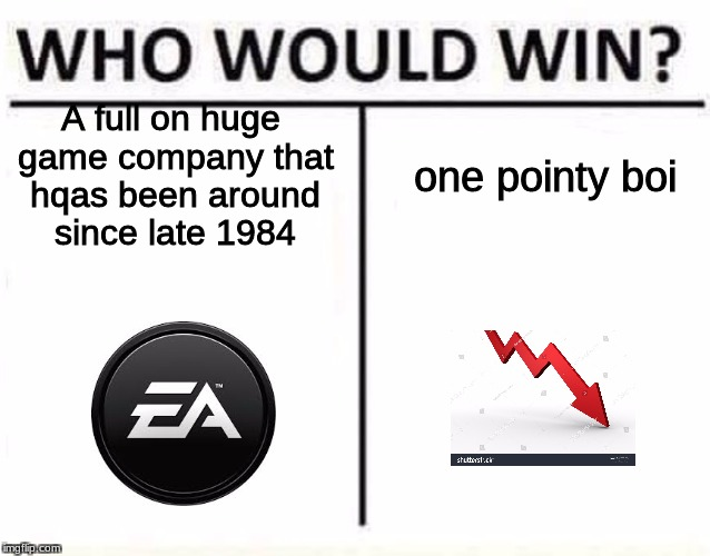 who would win | A full on huge game company that hqas been around since late 1984 one pointy boi | image tagged in who would win | made w/ Imgflip meme maker