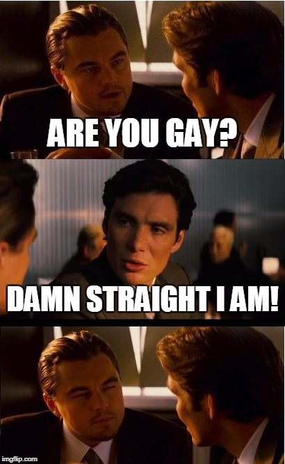 Inception Meme | ARE YOU GAY? DAMN STRAIGHT I AM! | image tagged in memes,inception | made w/ Imgflip meme maker
