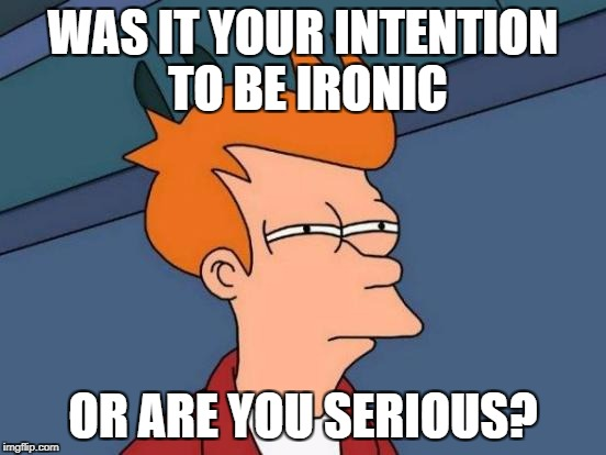 Futurama Fry Meme | WAS IT YOUR INTENTION TO BE IRONIC OR ARE YOU SERIOUS? | image tagged in memes,futurama fry | made w/ Imgflip meme maker