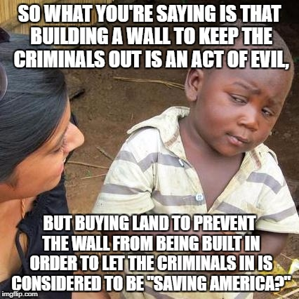 Third World Skeptical Kid Meme | SO WHAT YOU'RE SAYING IS THAT BUILDING A WALL TO KEEP THE CRIMINALS OUT IS AN ACT OF EVIL, BUT BUYING LAND TO PREVENT THE WALL FROM BEING BU | image tagged in memes,third world skeptical kid | made w/ Imgflip meme maker