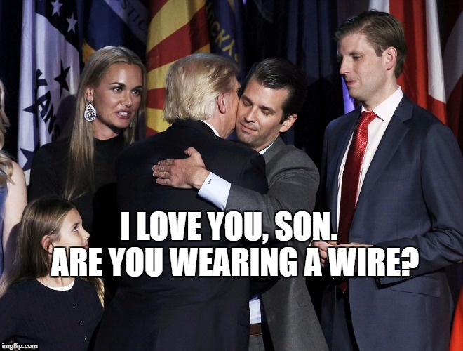 Trumps | I LOVE YOU, SON.  ARE YOU WEARING A WIRE? | image tagged in political meme | made w/ Imgflip meme maker