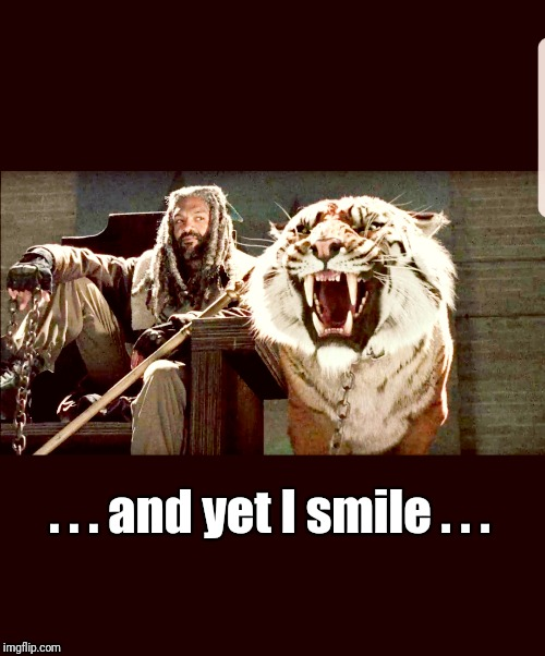 And yet I smile  | . . . and yet I smile . . . | image tagged in the walking dead,walking dead,tiger,king | made w/ Imgflip meme maker