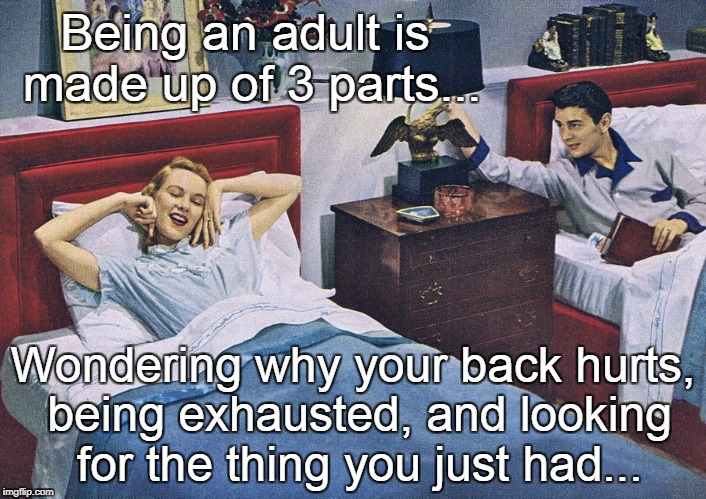 Being an adult... | Being an adult is made up of 3 parts... Wondering why your back hurts, being exhausted, and looking for the thing you just had... | image tagged in back hurts,exhausted,looking for thing,3 parts | made w/ Imgflip meme maker