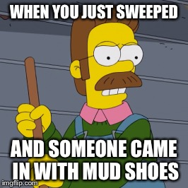 Stuggles with sweeping | WHEN YOU JUST SWEEPED AND SOMEONE CAME IN WITH MUD SHOES | image tagged in memes,meme,funny,funny memes | made w/ Imgflip meme maker