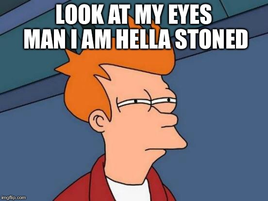 Futurama Fry Meme | LOOK AT MY EYES MAN I AM HELLA STONED | image tagged in memes,futurama fry | made w/ Imgflip meme maker