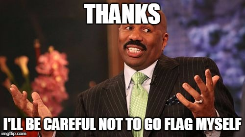 Steve Harvey Meme | THANKS I'LL BE CAREFUL NOT TO GO FLAG MYSELF | image tagged in memes,steve harvey | made w/ Imgflip meme maker