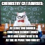 CHEMISTRY CAT ADVISES: AT LEAST YOU SHOULD FIND EACH ELEMENT EASILY IN IT AND KNOW WHY IT IS AT THE HE PLACE YOU FIND IT! | made w/ Imgflip meme maker