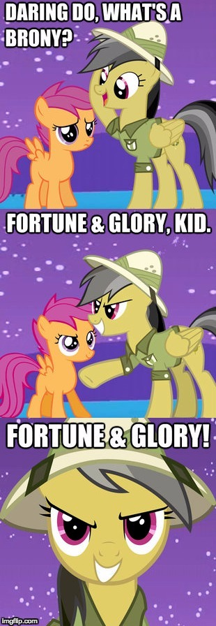 For all the bronies out there! :D | image tagged in memes,bronies,daring do,scootaloo | made w/ Imgflip meme maker