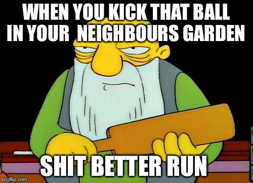 That's a paddlin' Meme | WHEN YOU KICK THAT BALL IN YOUR  NEIGHBOURS GARDEN SHIT BETTER RUN | image tagged in memes,that's a paddlin' | made w/ Imgflip meme maker