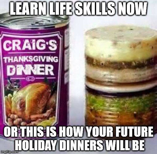 I personally believe everyone should be able to cook a few things. | LEARN LIFE SKILLS NOW OR THIS IS HOW YOUR FUTURE HOLIDAY DINNERS WILL BE | image tagged in thanksgiving,holiday dinner,yummy | made w/ Imgflip meme maker