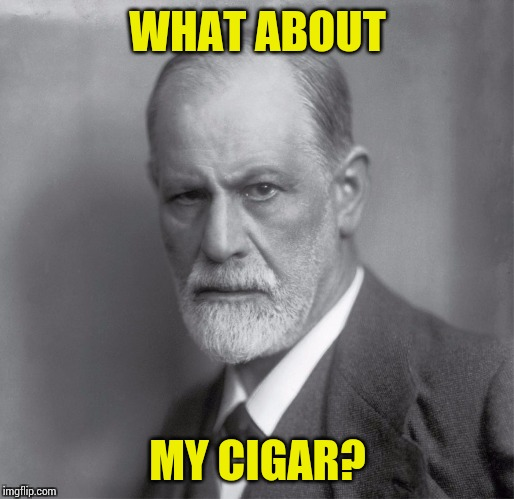 Uptight Frued | WHAT ABOUT MY CIGAR? | image tagged in sigmund,freud,psychology,psychiatrist,therapy | made w/ Imgflip meme maker