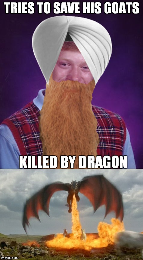 Yeah his 72 virgins are all dudes... | TRIES TO SAVE HIS GOATS KILLED BY DRAGON | image tagged in bad luck brian,dragon,trainer,epic fail,dragon kid | made w/ Imgflip meme maker