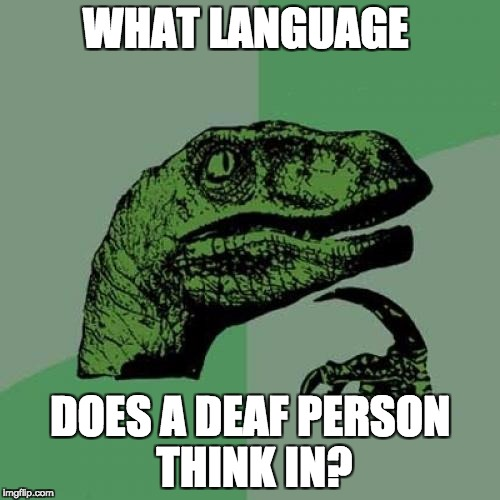 Philosoraptor Meme | WHAT LANGUAGE DOES A DEAF PERSON THINK IN? | image tagged in memes,philosoraptor | made w/ Imgflip meme maker