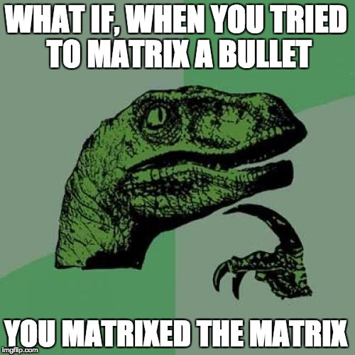 Philosoraptor Meme | WHAT IF, WHEN YOU TRIED TO MATRIX A BULLET YOU MATRIXED THE MATRIX | image tagged in memes,philosoraptor | made w/ Imgflip meme maker