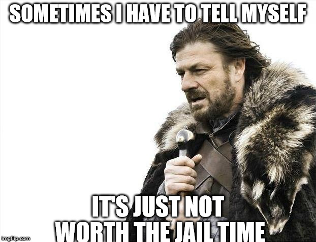 Brace Yourselves X is Coming Meme | SOMETIMES I HAVE TO TELL MYSELF IT'S JUST NOT WORTH THE JAIL TIME | image tagged in memes,brace yourselves x is coming | made w/ Imgflip meme maker