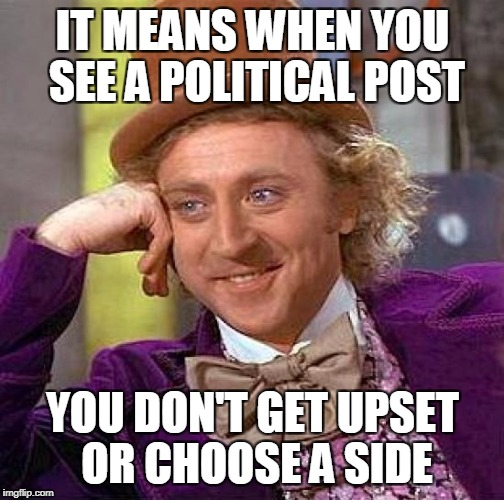 Creepy Condescending Wonka Meme | IT MEANS WHEN YOU SEE A POLITICAL POST YOU DON'T GET UPSET OR CHOOSE A SIDE | image tagged in memes,creepy condescending wonka | made w/ Imgflip meme maker