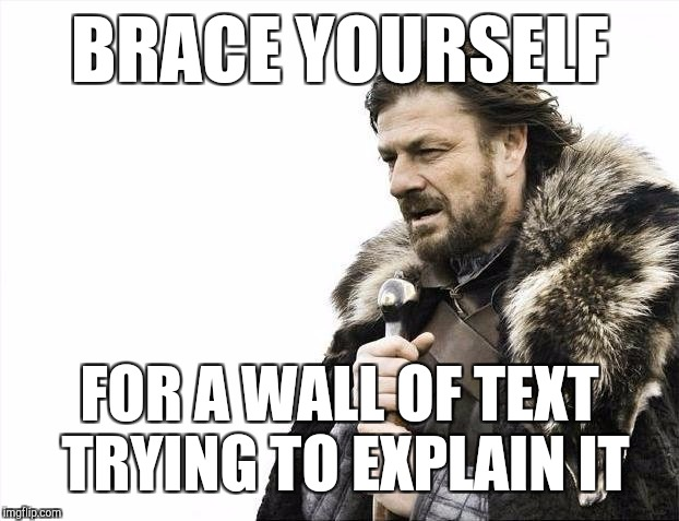 Brace Yourselves X is Coming Meme | BRACE YOURSELF FOR A WALL OF TEXT TRYING TO EXPLAIN IT | image tagged in memes,brace yourselves x is coming | made w/ Imgflip meme maker
