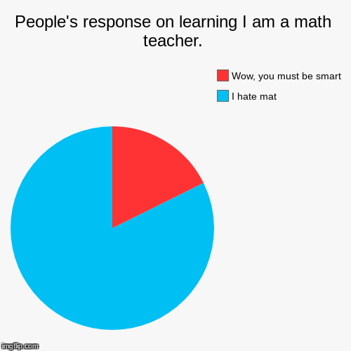 People's response on learning I am a math teacher. | I hate mat, Wow, you must be smart | image tagged in funny,pie charts | made w/ Imgflip pie chart maker