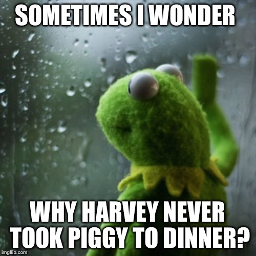 sometimes I wonder  | SOMETIMES I WONDER WHY HARVEY NEVER TOOK PIGGY TO DINNER? | image tagged in sometimes i wonder | made w/ Imgflip meme maker