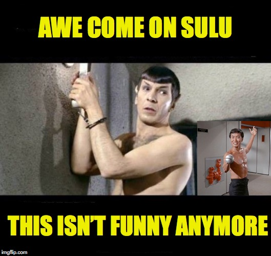 It all began as some harmless fun | AWE COME ON SULU THIS ISN'T FUNNY ANYMORE | image tagged in mr spock,sulu,star wars week | made w/ Imgflip meme maker