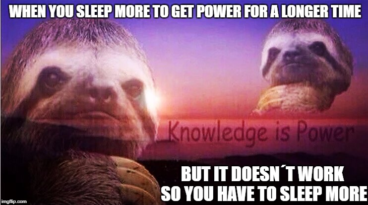 MY LIFE... IT HAS BEEN A LIE | WHEN YOU SLEEP MORE TO GET POWER FOR A LONGER TIME BUT IT DOESN´T WORK SO YOU HAVE TO SLEEP MORE | image tagged in sloth knowledge is power | made w/ Imgflip meme maker