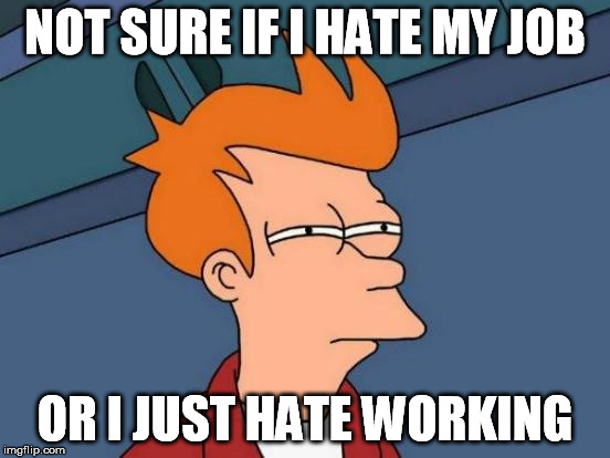 Futurama Fry Meme | NOT SURE IF I HATE MY JOB OR I JUST HATE WORKING | image tagged in memes,futurama fry | made w/ Imgflip meme maker