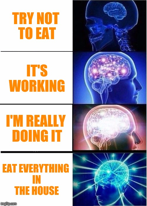 Expanding Brain Meme | TRY NOT TO EAT IT'S WORKING I'M REALLY DOING IT EAT EVERYTHING IN THE HOUSE | image tagged in memes,expanding brain | made w/ Imgflip meme maker