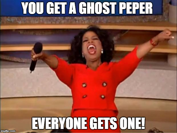 Oprah You Get A Meme | YOU GET A GHOST PEPER EVERYONE GETS ONE! | image tagged in memes,oprah you get a | made w/ Imgflip meme maker