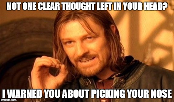 One Does Not Simply | NOT ONE CLEAR THOUGHT LEFT IN YOUR HEAD? I WARNED YOU ABOUT PICKING YOUR NOSE | image tagged in memes,one does not simply | made w/ Imgflip meme maker
