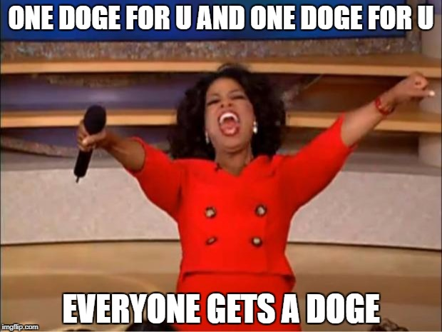 Oprah You Get A Meme | ONE DOGE FOR U AND ONE DOGE FOR U EVERYONE GETS A DOGE | image tagged in memes,oprah you get a | made w/ Imgflip meme maker