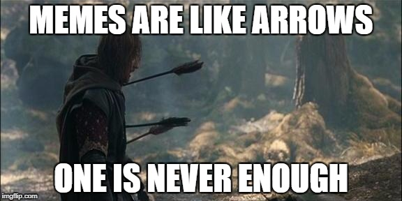Boromir... | MEMES ARE LIKE ARROWS ONE IS NEVER ENOUGH | image tagged in frustrated boromir | made w/ Imgflip meme maker