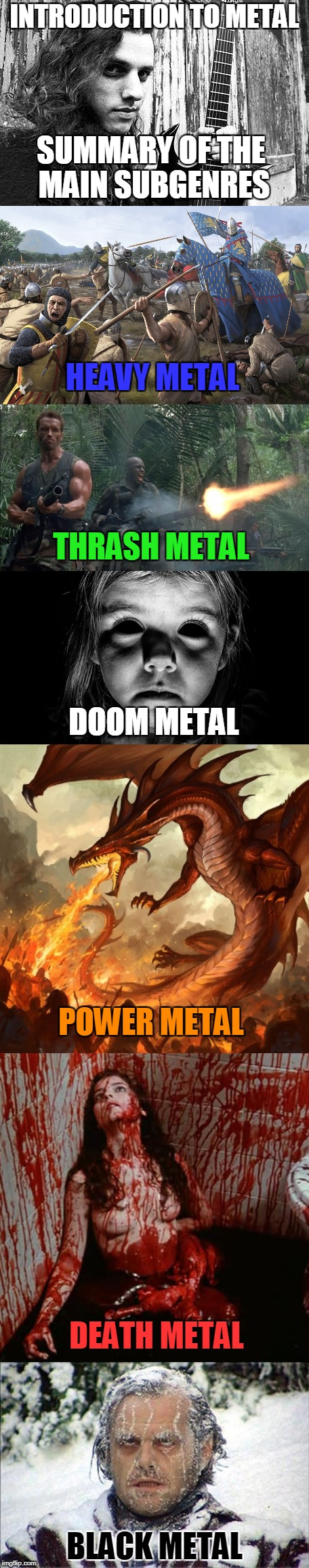For those who have never listened to metal,here is a rough depiction of what you'll experience while listening! | INTRODUCTION TO METAL BLACK METAL HEAVY METAL THRASH METAL DOOM METAL POWER METAL DEATH METAL SUMMARY OF THE MAIN SUBGENRES | image tagged in memes,powermetalhead,thrash metal,power metal,death metal,black metal | made w/ Imgflip meme maker