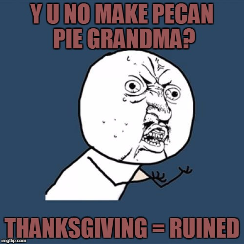 Y U No Meme | Y U NO MAKE PECAN PIE GRANDMA? THANKSGIVING = RUINED | image tagged in memes,y u no | made w/ Imgflip meme maker
